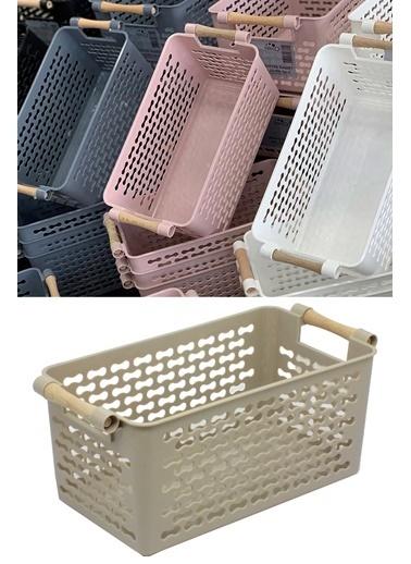 Kitchen Love Ahşap Saplı Plastik Düzenleyici Sepet-30X15X13Cm Renkli